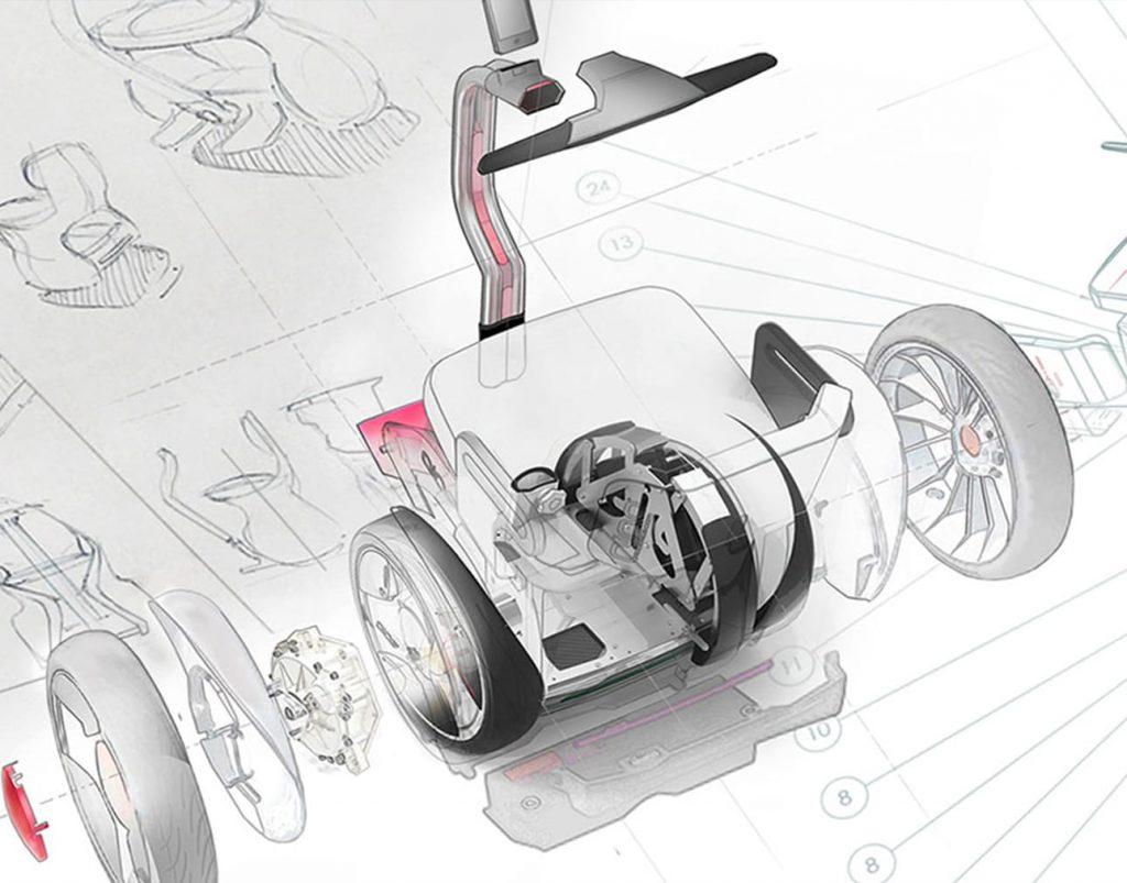 Diapo 3 : Dessin technique représentant le fauteuil Gyropode Nino.