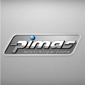 Logo de Pimas, légende «toujours une longueur d'avance»