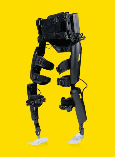 Diapo 3 : Exosquelette ReWalk (Jambes uniquement) sur fond Jaune.