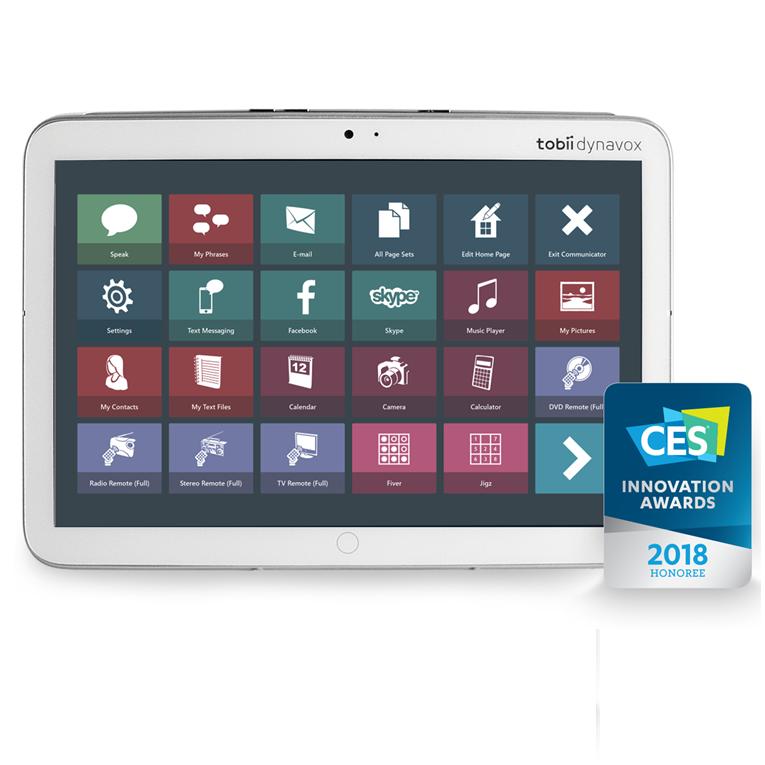 Diapo 4 : Tablette indi par Tobiidynavox. Un logo sur la droite affiche 'CES innovation awards 2018 Honoree'.