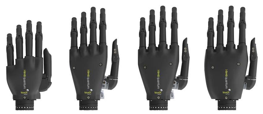 Diapo 3 : Quatre prothèses de main i-Limb de tailles différentes.