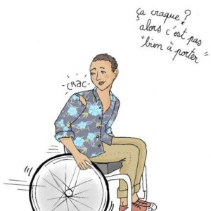 Dessin d'une personne se déplaçant en fauteuil roulant, dont la chemise se déchire. Légende: » Ça craque? Alors c'est pas «bien à porter» «