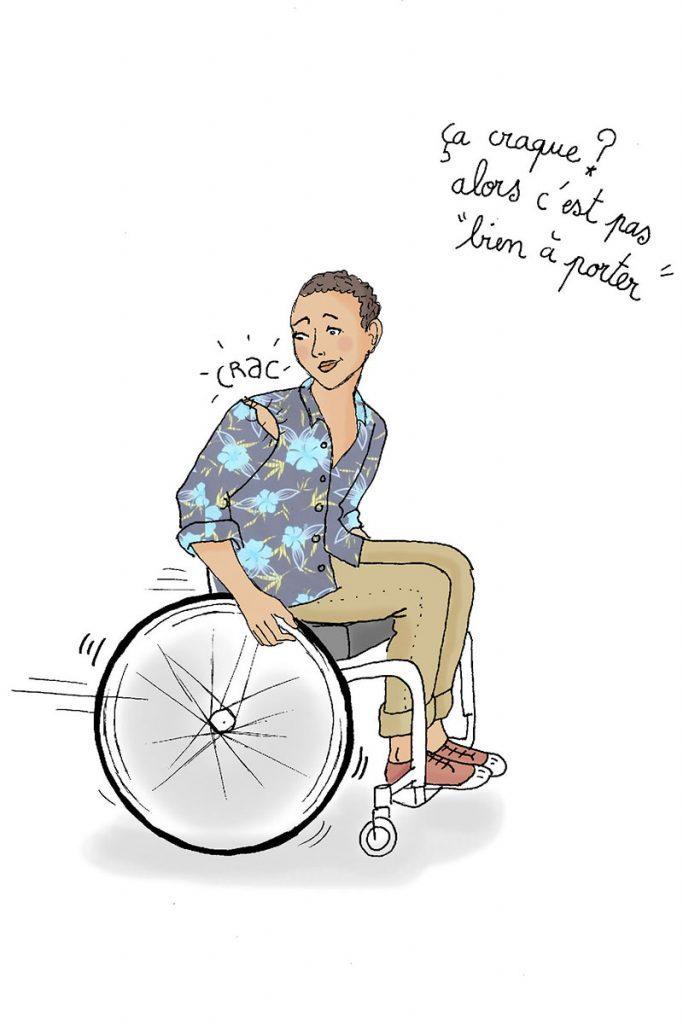 Diapo 3 : Dessin d'une personne se déplaçant en fauteuil roulant, dont la chemise se déchire. Légende: ' Ça craque? Alors c'est pas 'bien à porter' '
