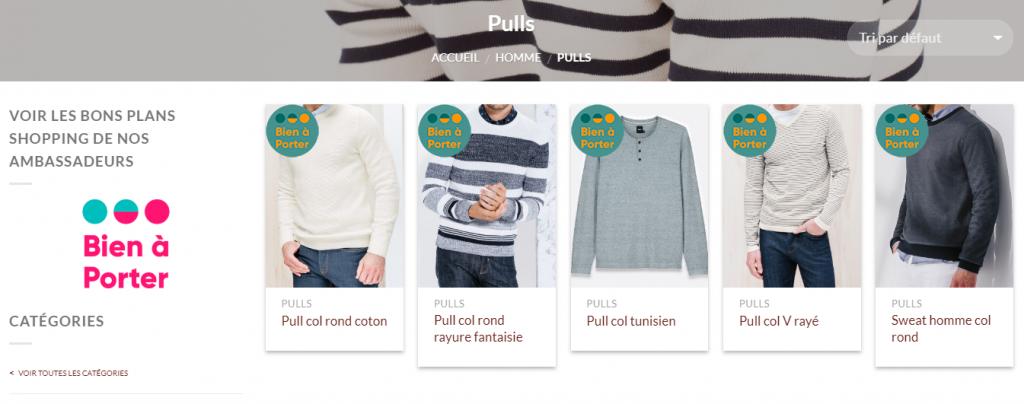 Diapo 2 : Site internet 'Bien à porter', page 'Pulls pour hommes'. articles présentés: 'Pull col rond coton' 'Pull col rond rayure fantaisie' 'Pull Col tunisien' 'Pull col V rayé' 'Sweat Homme col rond'.