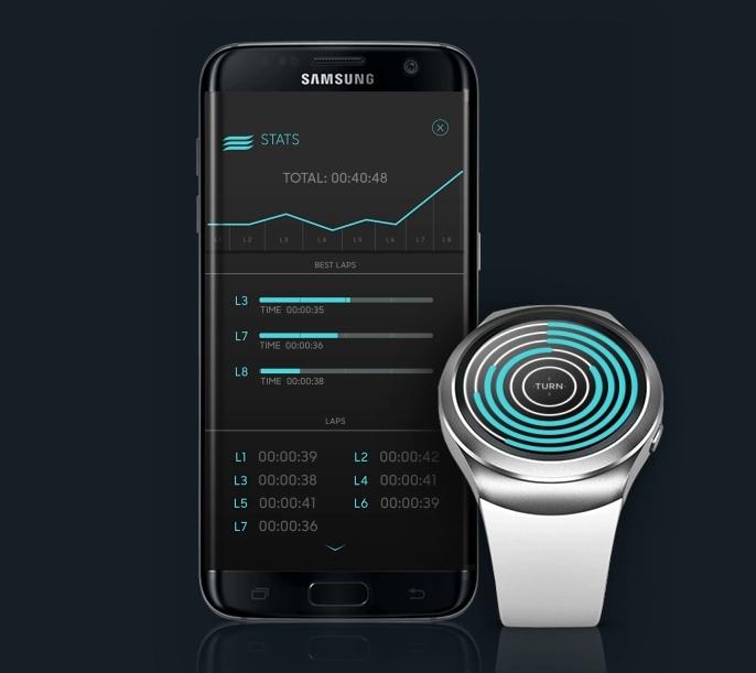 Diapo 2 : Montre connectée et application Blindcap, la montre affiche les longueurs restantes à faire, l'application les statistiques sur les longueurs déjà effectuées