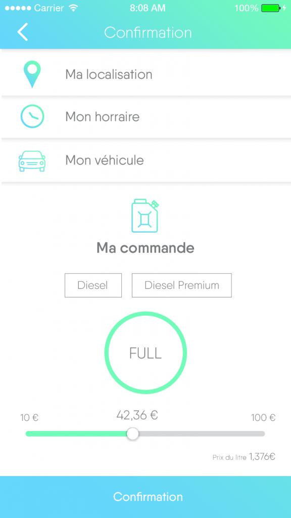 Diapo 3 : Application POMP, page 'confirmation de la commande' éléments à remplir: 'Ma localisation' 'Mon horaire' 'Mon véhicule'.