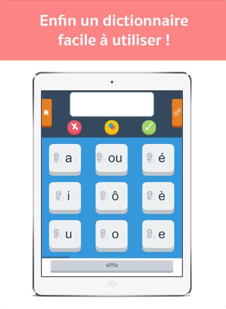 Diapo 4 : Smartphone affichant le clavier des sons de l'application Dicodys. Légende: 'Enfin un dictionnaire facile à utiliser'