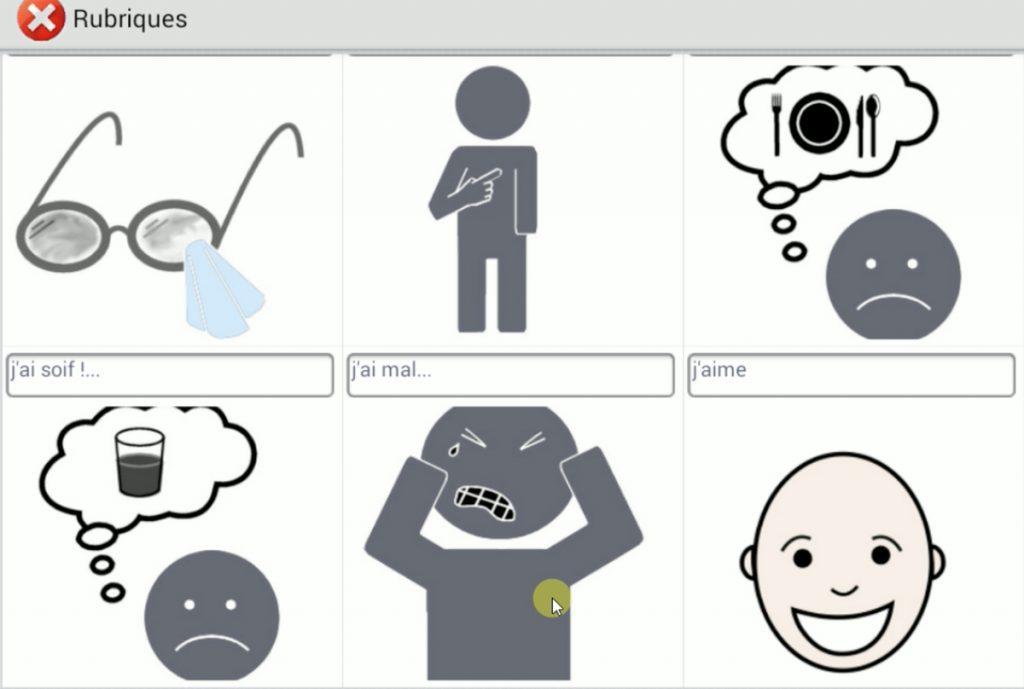 Diapo 2 : Exemple de rubriques de l'application : 'j'ai soif' 'j'ai mal' 'j'aime'