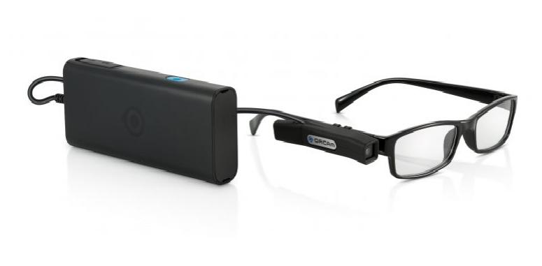 Diapo 3 : Appareil et caméra MyEye, équipés sur une paire de lunettes,