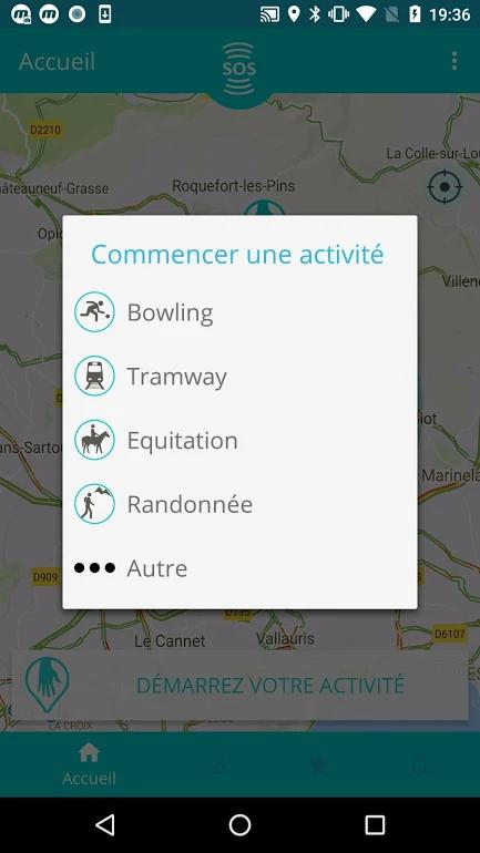 Diapo 4 : Page d'accueil de l'application Lpliz, menu 'commencer une activité', activités proposées: 'Bowling' 'Tramway' 'Équitation' 'Randonnée'.