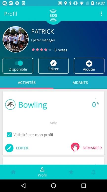 Diapo 5 : Page de profil de l'application Lpliz. Nom 'Patrick' Options: 'Disponible' 'Éditer' 'Ajouter'. Rubrique 'Activité': 'Bowling 0%' 'Éditer' 'Démarrer'