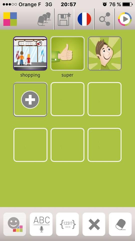Diapo 3 : Application Talk Different, exemple de phrase écrite avec l'application: 'Shopping' 'Super'.
