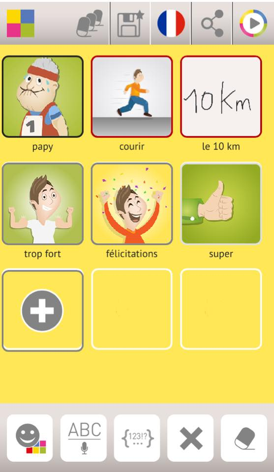 Diapo 2 : Application Talk Different, exemple de phrase écrite avec l'application: 'Papy' 'Courir' 'LE 10 KM' 'Trop fort' 'Félicitation' 'Super'.