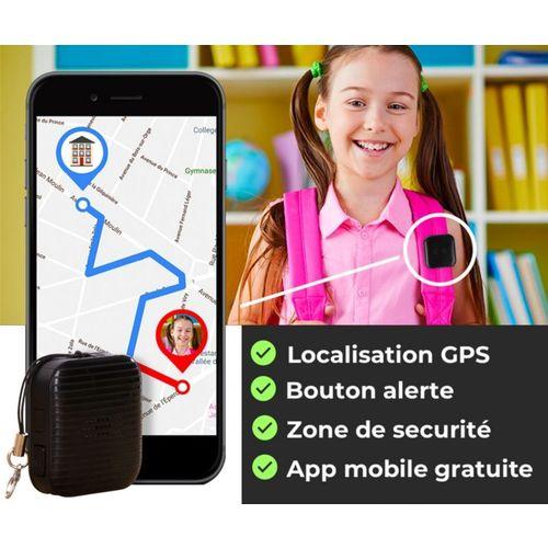 Diapo 5 : Image d'une petite fille qui a le swap GPS accroché à son sac, connecté à un smartphone, et avec à côté écrit 'Localisation GPS, Bouton Alerte, Zone de sécurité, App mobile sunshine'