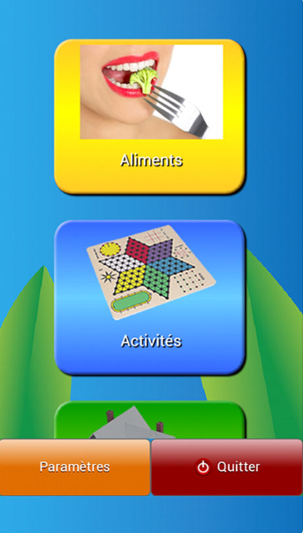 Diapo 2 : Application Dis-moi!, catégories de mots affichées: 'Aliments' 'Activités', bas de l'image: Boutons: 'Paramètres' et 'Quitter'.
