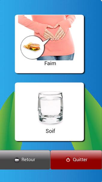 Diapo 3 : Application Dis-moi!, catégories de mots affichées: 'Faim' 'Soif', bas de l'image: Boutons: 'Paramètres' et 'Quitter'.