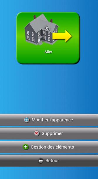 Diapo 4 : Application Dis-moi!, Mot Affiché 'Aller', menu: 'Modifier l'apparence' 'Supprimer' 'Gestion des éléments' 'Retour'.