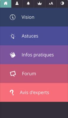 Diapo 3 : Menu principal de l'application Auxivision. Sous-menus: 'Vision' 'Astuces' 'Infos pratiques' 'Forum' 'Avis d'experts'