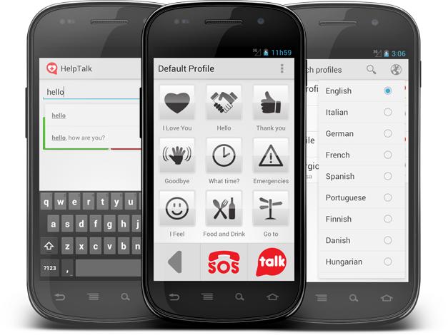 Diapo 1 : 3 Smartphones affichant différentes fonctionnalités de l'application HelpTalk.