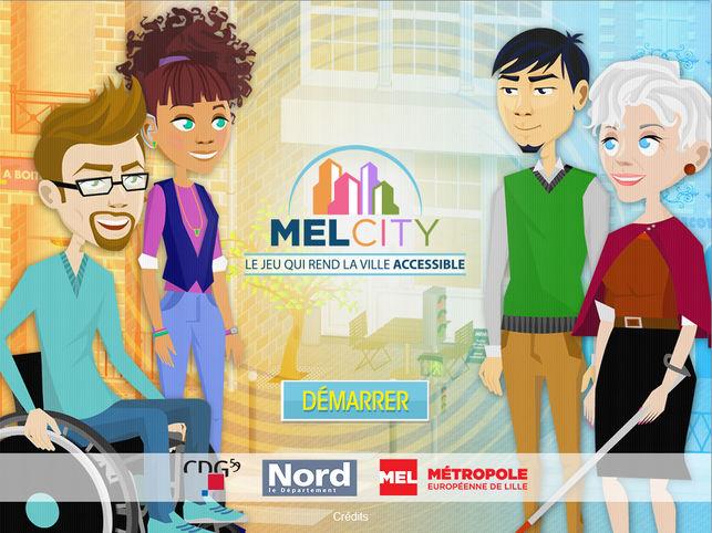 Diapo 3 : Page d'acceuil de l'application Mel City. Légende: Le jeux qui rend la ville accessible' bouton 'Démarrer'.
