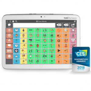 Centre de l'image: Tablette Indi, affichant le clavier de pictogrammes de l'application Core First. Bas de l'image: Logo des CES Innovation Awards , mention « 2018 Honoree »