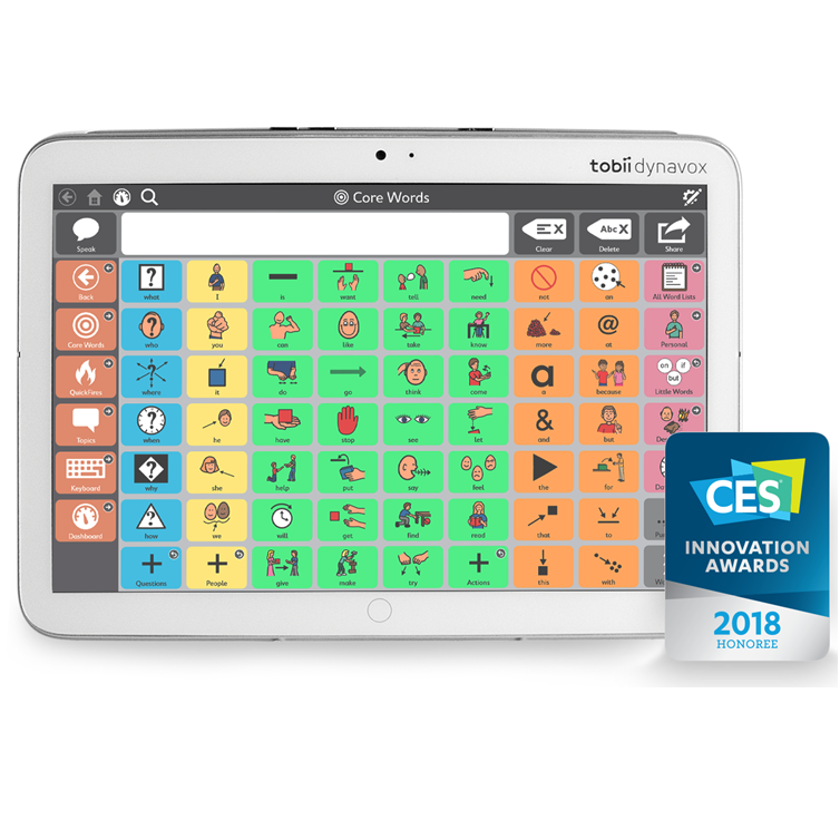 Diapo 4 : Centre de l'image: Tablette Indi, affichant le clavier de pictogrammes de l'application Core First. Bas de l'image: Logo des CES Innovation Awards , mention '2018 Honoree'