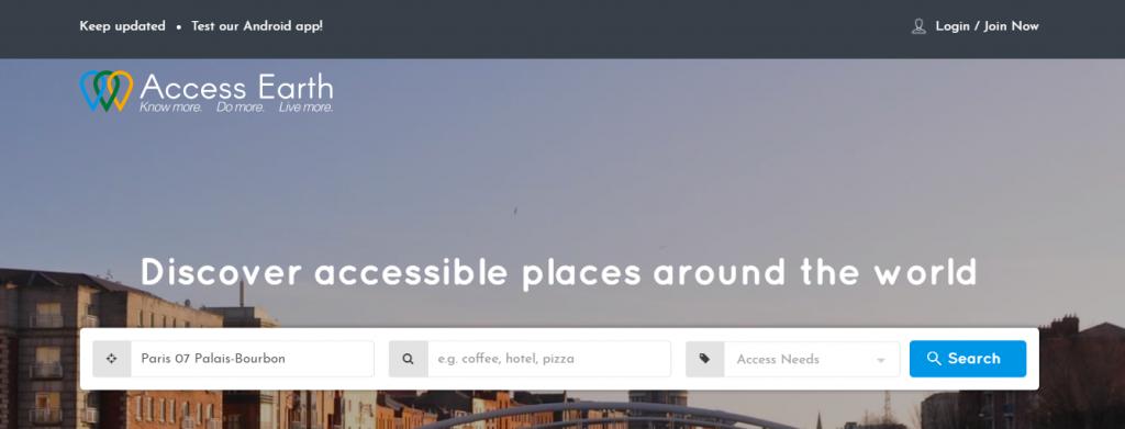 Diapo 2 : Page d'accueil et barre de recherche du site Acces Earth, champs de la barre de recherche: 'ville' ' type de lieu' 'besoin d'accessibilité'
