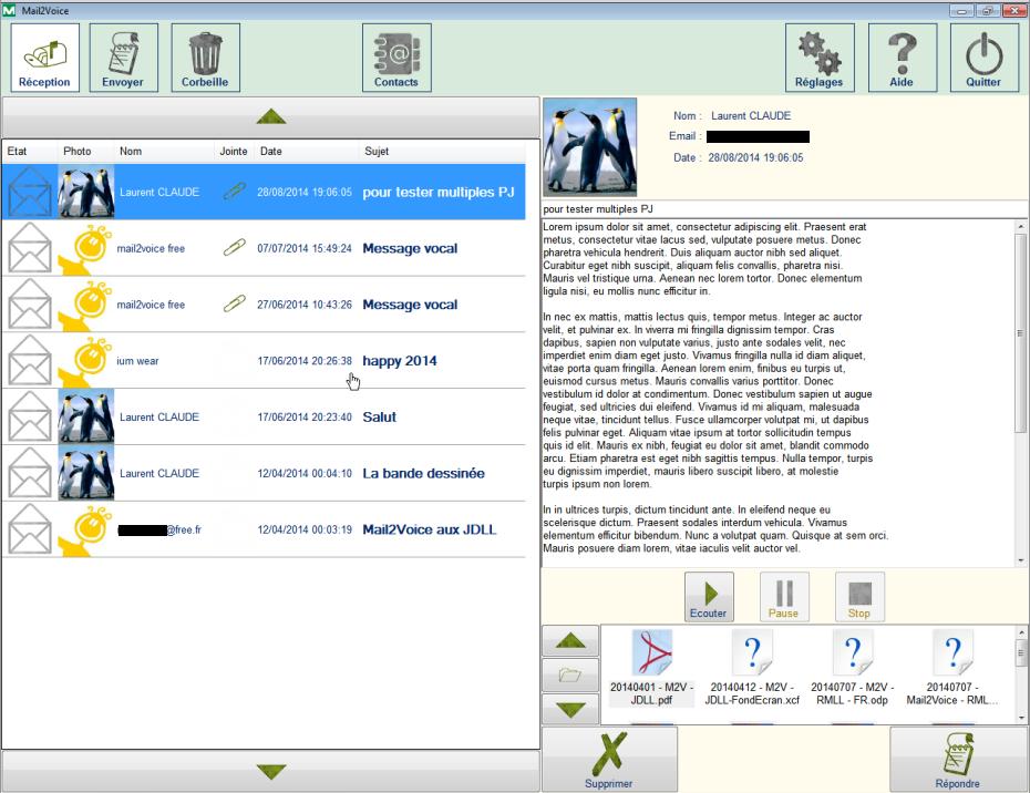 Diapo 4 : Image du logiciel Mail2Voice montrant la fonction lecture audio des mails