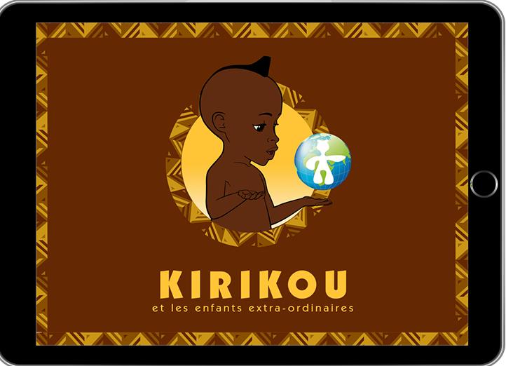 Diapo 2 : Page d'accueil de l'application Kirikou, titre: 'Kirikou et les enfants extra-ordinaires'