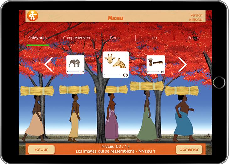 Diapo 3 : Menu principal de l'application Kirikou. Sous-menus : 'Catégories' 'Compréhension' ' 'Parole' ' 'Jeu' 'École'. Image de fond : Femmes africaines portant des bottes de paille sur leurs têtes.