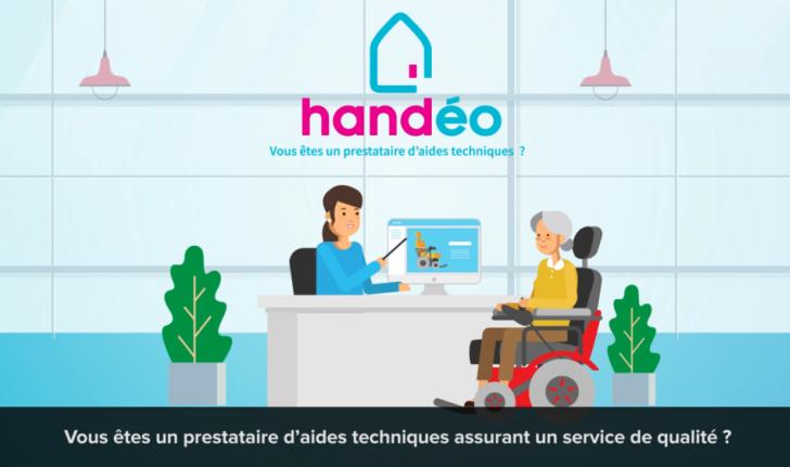 Diapo 3 : Image Handéo avec une femme en fauteuil roulant et une autre devant un ordinateur