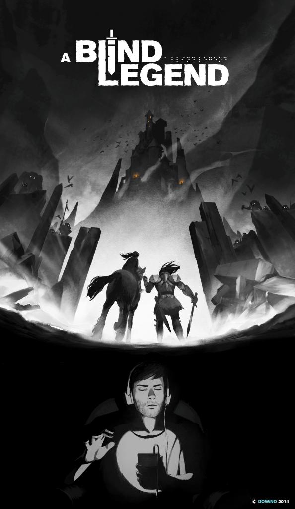 Diapo 4 : Haut de l'image: Logo du jeu a blind legend, millieu de l'image: deux personnages en tenues médievales se tiennent face à un château,  bas de l'image: une personne joue à a blind legend sur son téléphone, en portant un casque audio.