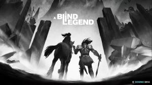 Affiche du jeu A Blind Legend, avec deux personnages en noir et blanc
