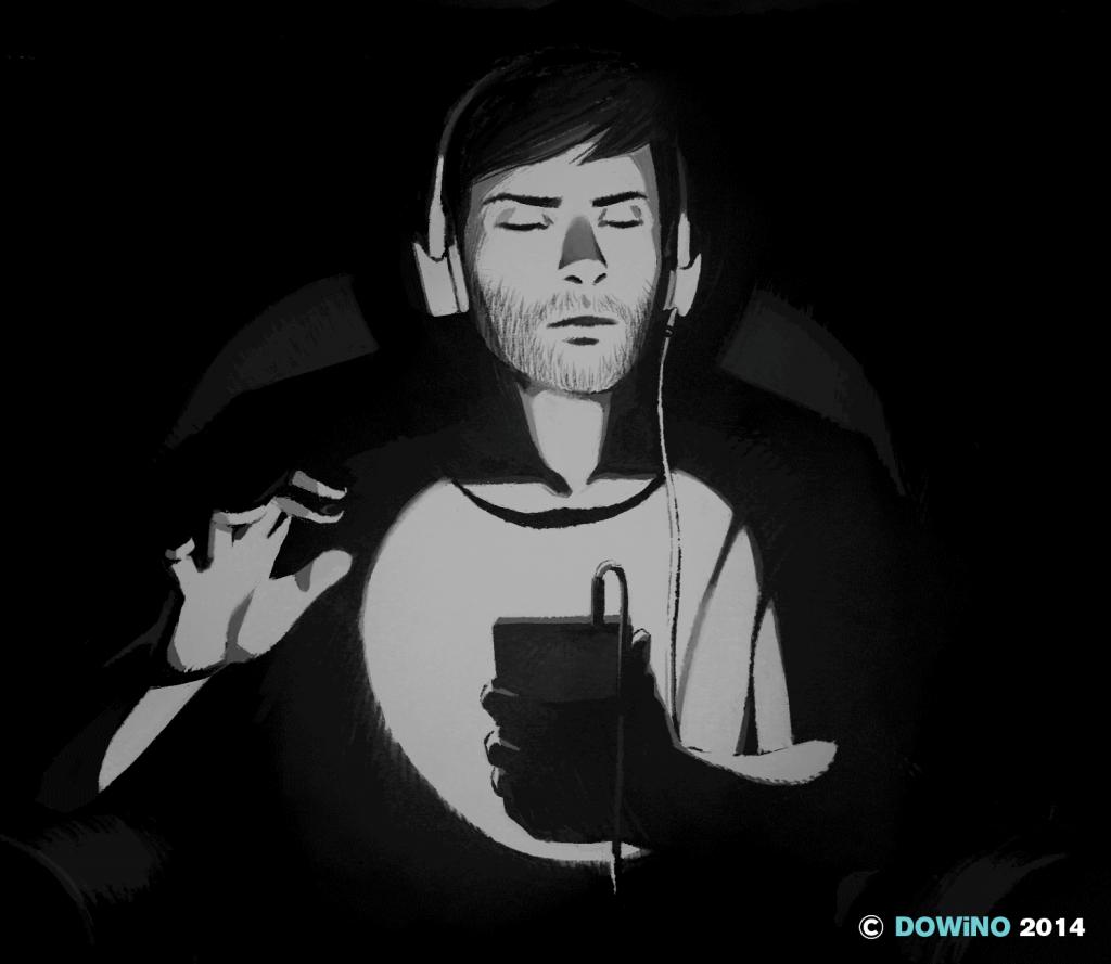 Diapo 2 : Une personne joue à a blind legend sur son téléphone, en portant un casque audio.