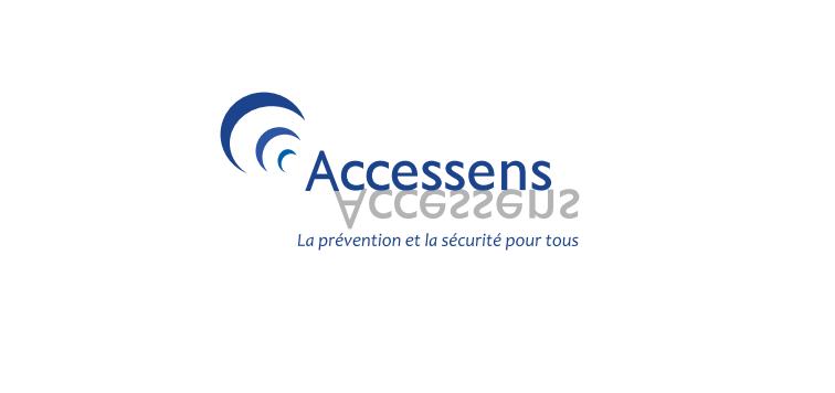 Diapo 2 : Logo du fabricant Accessens, légende : 'La prévention et la sécurité pour tous'