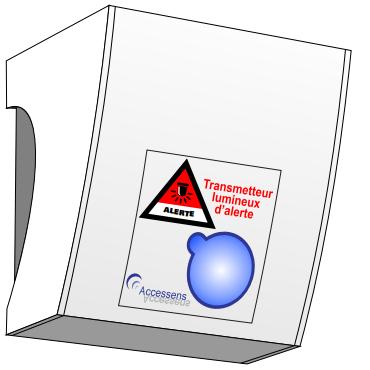 Diapo 3 : Schéma du boitier TLA 714, indications: 'Transmetteur lumineux d'alerte' 'Accessens'