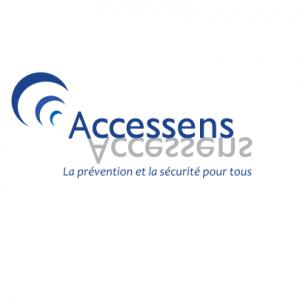 Logo du fabricant Accessens, légende : «La prévention et la sécurité pour tous»