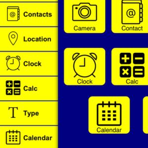 Image de l'application Clear Sight avec des pictogrammes grossis
