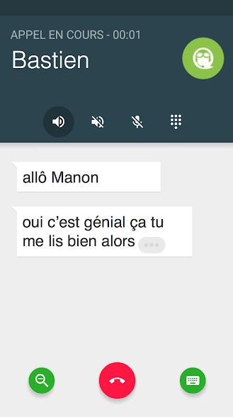 Diapo 3 : Capture d'écran d'une conversation sur Rogervoice. La conversation affichée lit: 'Allô Manon' 'Oui c'est génial ça tu me lis bien alors'