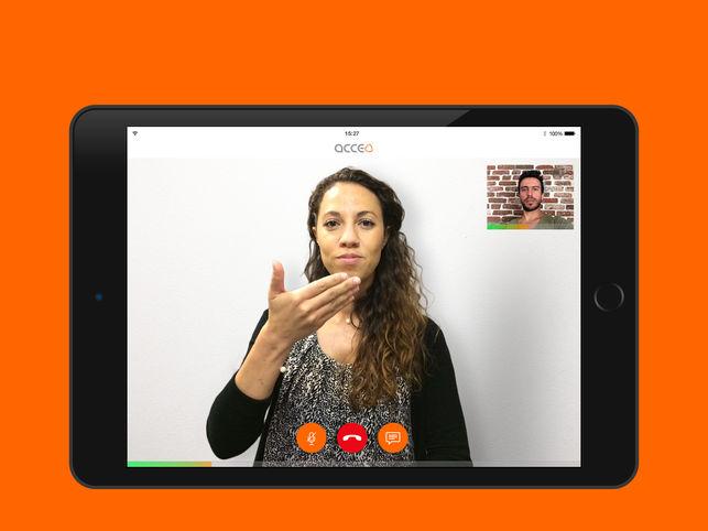 Diapo 2 : Intermédiaire Acceo traduisant un appel sur une tablette
