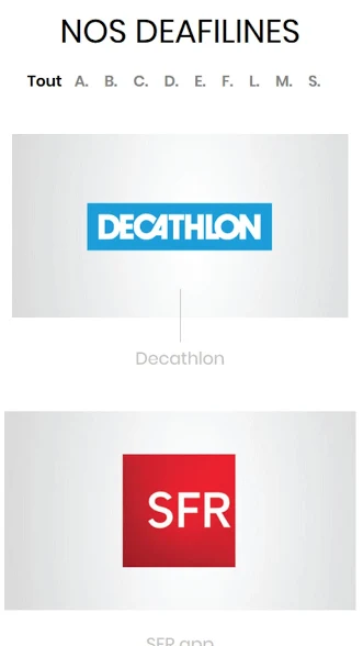 Diapo 2 : Application DeafLine Mobile, page 'Nos Deaflines', options visibles 'Décathlon' 'SFR'.