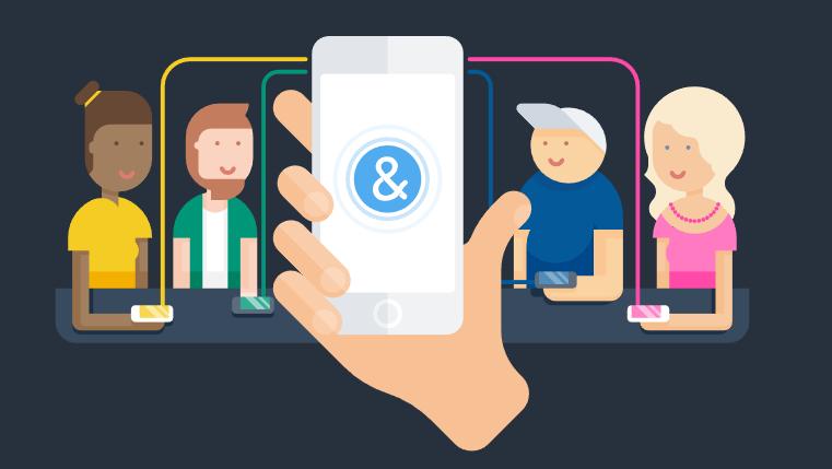 Diapo 3 : Illustration représentant quatre personnages assis autour d'une table. Des traits de couleur relient leur smartphones à un cinquième smartphone, utilisant Ava.