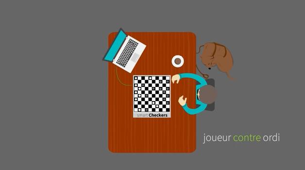 Diapo 3 : Une personne, accompagné d'un chien guide d'aveugle, jouant avec un plateau de Smart Checkers relié à un ordinateur. Légende: 'Joueur contre ordi' .