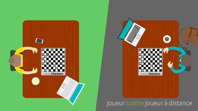 Diapo 2 : Deux personnes jouant chacune avec un plateau de Smart Checkers reliés à des ordinateurs. Légende: joueur contre joueur à distance.