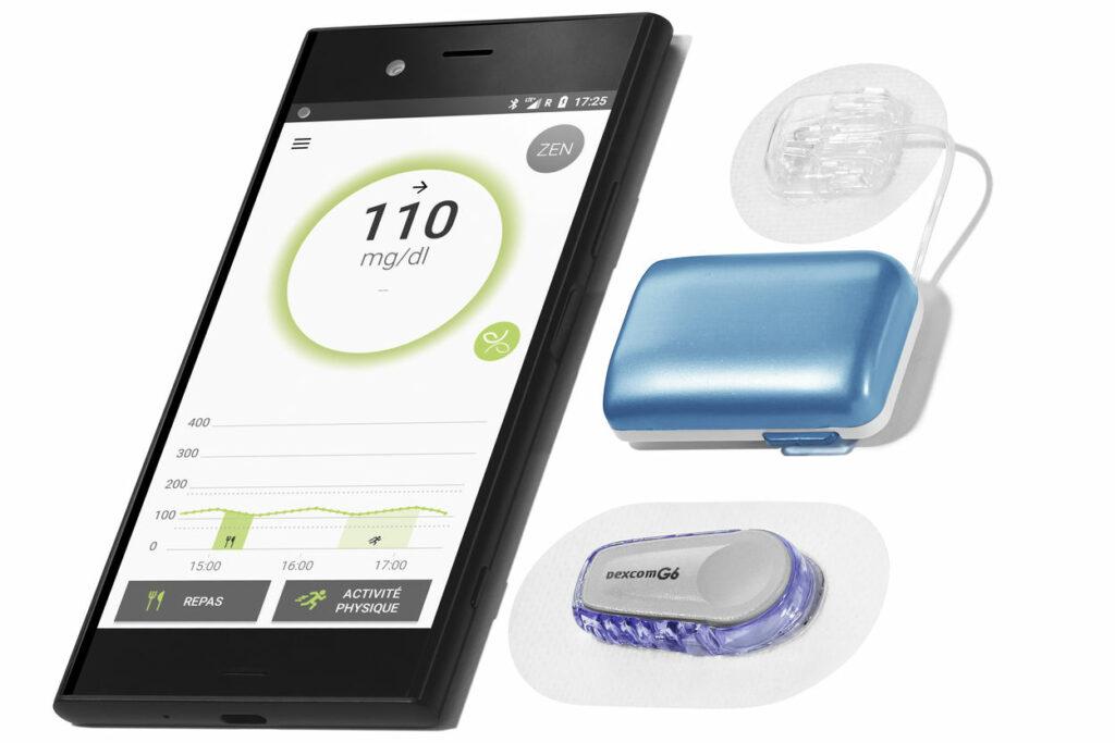 Diapo 4 : Dispositif Diabeloop accompagné d'un smartphone avec l'application dessus