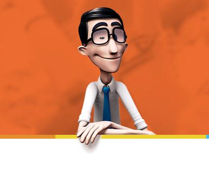 Diapo 2 : Personnage digital de l'application handtalk faisant un clin d'œil.