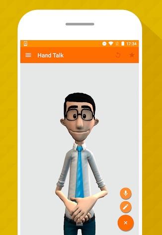Diapo 4 : Smartphone affichant le personnage digital de l'application handtalk, se tenant prêt à traduire en langue des signes.
