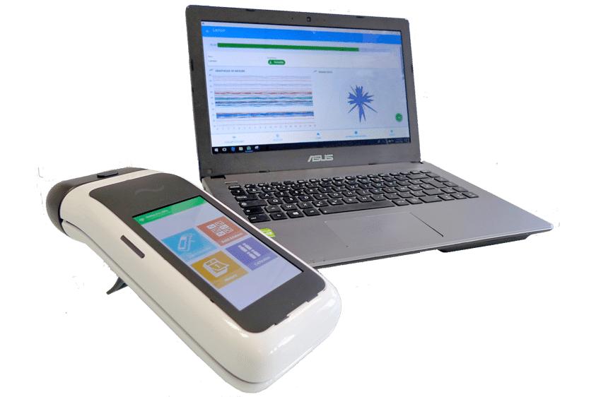 Diapo 5 : Appareil NeOse Pro, posé à coté d'un ordinateur portable affichant des données.