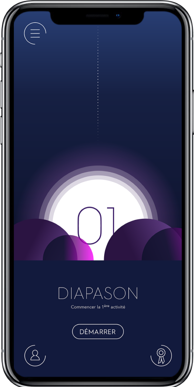 Diapo 3 : Smartphone affichant l'application Diapason.
