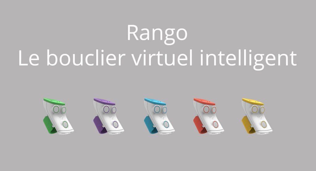 Diapo 1 : Cinq appareils Rango (Vert, Violet, Bleu, Rouge et jaune). Légende: 'Rango le bouclier virtuel intelligent'.